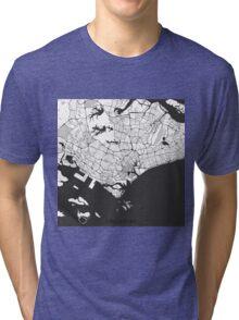 Singapore Map Gray Tri-blend T-Shirt