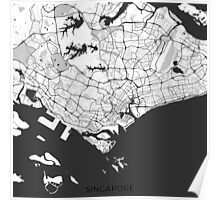 Singapore Map Gray Poster