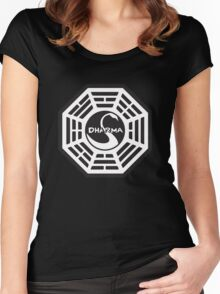 Keep Calm and Dharma Swan  Women's Fitted Scoop T-Shirt
