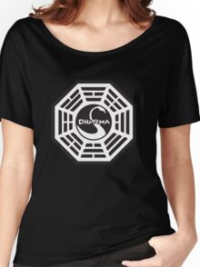 Keep Calm and Dharma Swan  Women's Relaxed Fit T-Shirt