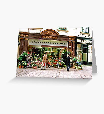 flower shop, Vienna, Austria Greeting Card
