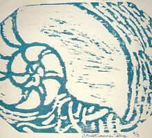 nautilus woodcut by Xtianna