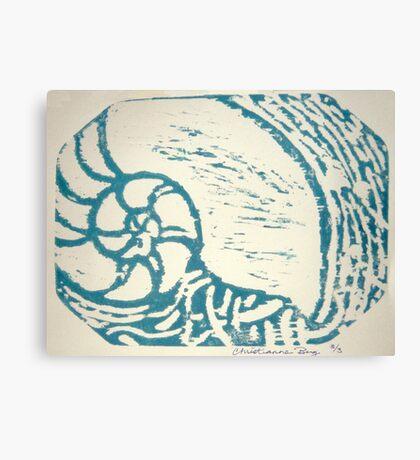 nautilus woodcut Canvas Print