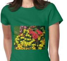 Red Geraniums and Yellow Marigolds Womens Fitted T-Shirt