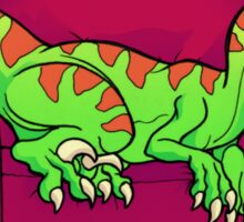 Velociraptor sleeping on couch - Five more minutes! Sticker