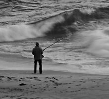 The Fisherman - Black and White by pennyswork