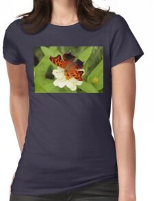 Question Mark Butterfly on Flower Womens Fitted T-Shirt