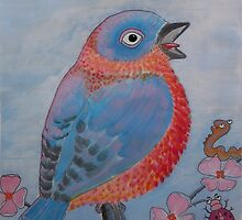 Flame Breasted Bluebird and Friends by TedReeder