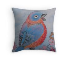 Flame Breasted Bluebird and Friends Throw Pillow