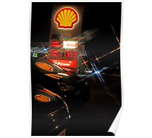 Night at Shell Garage Peebles Poster