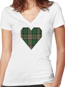 00410 Brown Watch Tartan Women's Fitted V-Neck T-Shirt