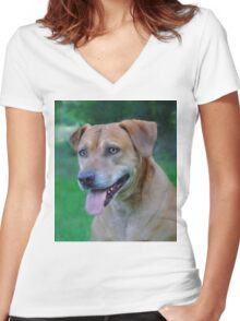 Dog Women's Fitted V-Neck T-Shirt