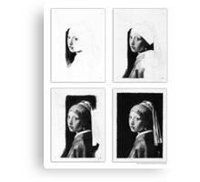 Vermeer - Pencil study 4 x 4 white Canvas Print