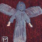 Angel with big feet by sword
