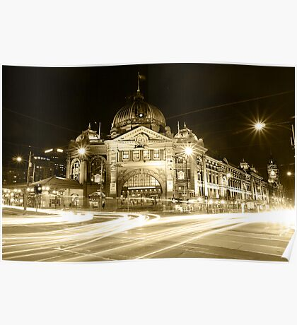 Black & White night view @ Flinders Street Station with lights' trails, Melbourne Poster