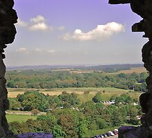 Framed View from Corfe Castle by Lisa Hafey