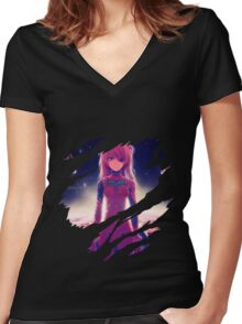 neon genesis evangelion rei ayanami asuka soryu anime manga shirt Women's Fitted V-Neck T-Shirt