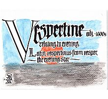 Vespertine etymology and definition in calligraphy Photographic Print
