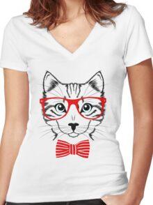 Hipster Cat T-Shirt Women's Fitted V-Neck T-Shirt