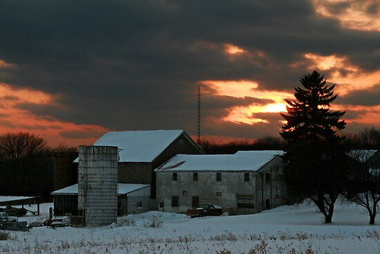 Sunset Over Seneca Farm by Geno Rugh