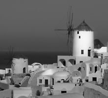 Windmills of Santorini ~ Black & White by Lucinda Walter