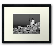 Windmills of Santorini ~ Black & White Framed Print