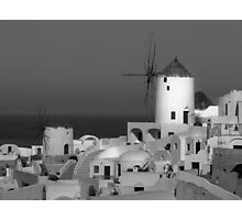 Windmills of Santorini ~ Black & White Photographic Print