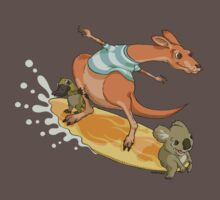 Surfing kangaroo and friends One Piece - Short Sleeve