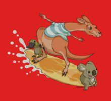 Surfing kangaroo and friends Kids Tee