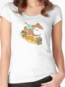 Surfing kangaroo and friends Women's Fitted Scoop T-Shirt