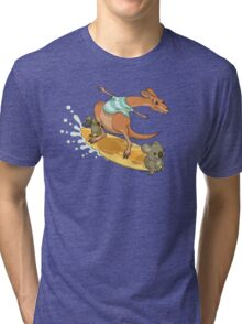 Surfing kangaroo and friends Tri-blend T-Shirt