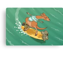 Surfing kangaroo and friends Canvas Print