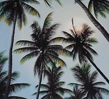 moonlight through the palm tree by janaah