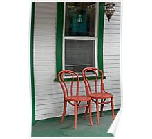 Two Orange Chairs Outside a Green Bordered Window, San Diego, CA Poster