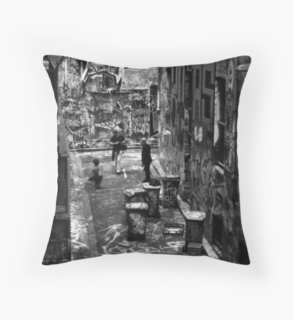 Hey buddy, can't you find some other graffiti to photograph, I'm kinda busy here! Throw Pillow