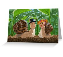 romantic snails on a date Greeting Card