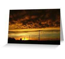 Sunset silhouettes near Newcastle Greeting Card