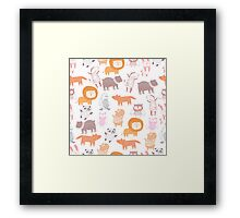 cute animal kids pattern Framed Print