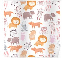 cute animal kids pattern Poster