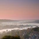 Mist in the Thames Valley Berkshire England by Jim Hellier