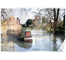 Just Waiting narrow boat at Goring on Thames Poster