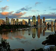 Brisbane River and City at dawn. Queensland, Australia.(6) by Ralph de Zilva