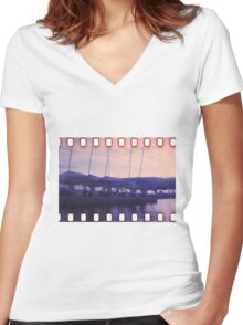 Blue sunset  Women's Fitted V-Neck T-Shirt