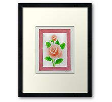 HYBRID TEA ROSE CARINELLA - AQUAREL Framed Print