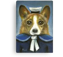 Corgi the sailor Canvas Print