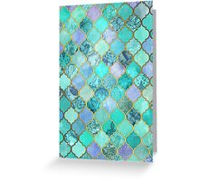 Cool Jade & Icy Mint Decorative Moroccan Tile Pattern Greeting Card