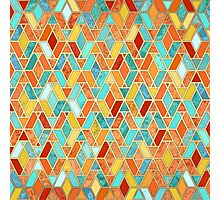 Tangerine & Turquoise Geometric Tile Pattern Photographic Print