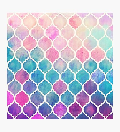 Rainbow Pastel Watercolor Moroccan Pattern Photographic Print