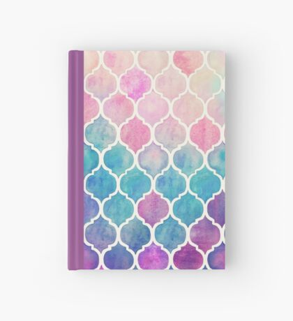 Rainbow Pastel Watercolor Moroccan Pattern Hardcover Journal