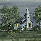 Country Church On A Summer Night by Charlotte  Blanchard